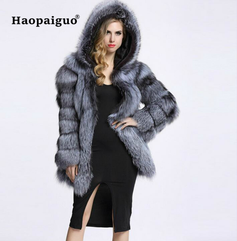 2018 Winter Luxury Faux Fox Fur Coat With Hooded Women Thick Warm Fluffy Faux Fur Jacket Ladies Coat Black Fur Top 4XL Plus Size