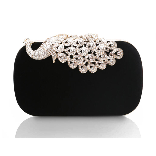 New 2016 Women Clutch peacock diamond clasp Evening Bag Upscale Rhinestone suede Hard Case luxury Chain Bolsas Femininas