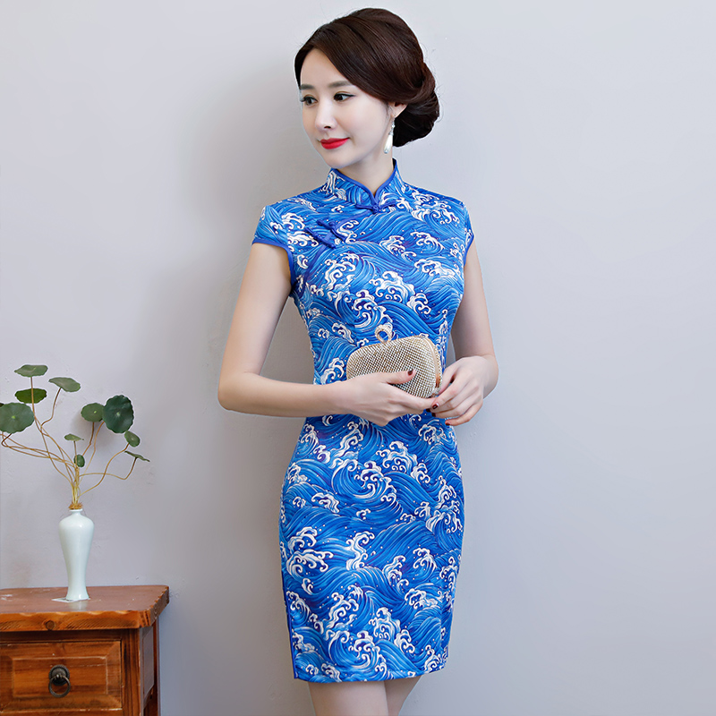 New Arrival Women's Satin Mini Cheongsam Fashion Chinese Style Dress Elegant Slim Qipao Clothing Size S M L XL XXL 368483 15