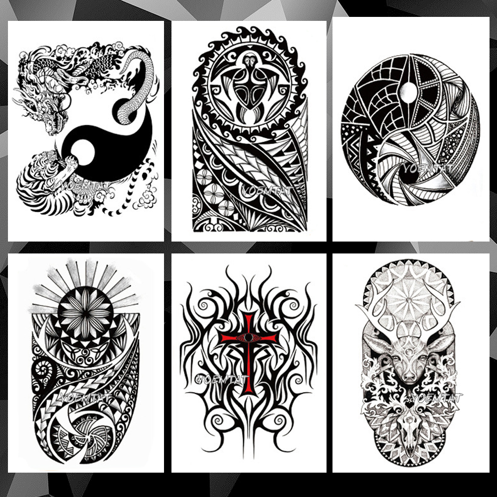 Yin Yang Lion Dragon Totem Waterproof Temporary Tattoo Sticker Maori Warrior Flash Tattoos Body Art Arm Fake Sleeve Tatoo
