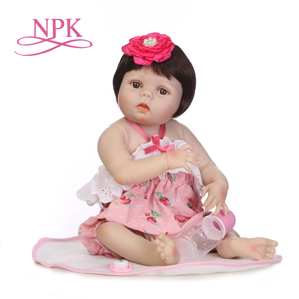 NPK 57cm realistic full silicone baby girl with glued on short hair kids gift silicone reborn baby dolls