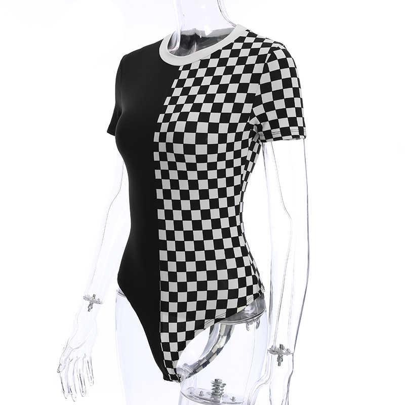 Sweetown короткий рукав О-образным вырезом облегающий костюм женская одежда 2019 лоскутное белый в черном контрастном цвете базовое боди элегантное