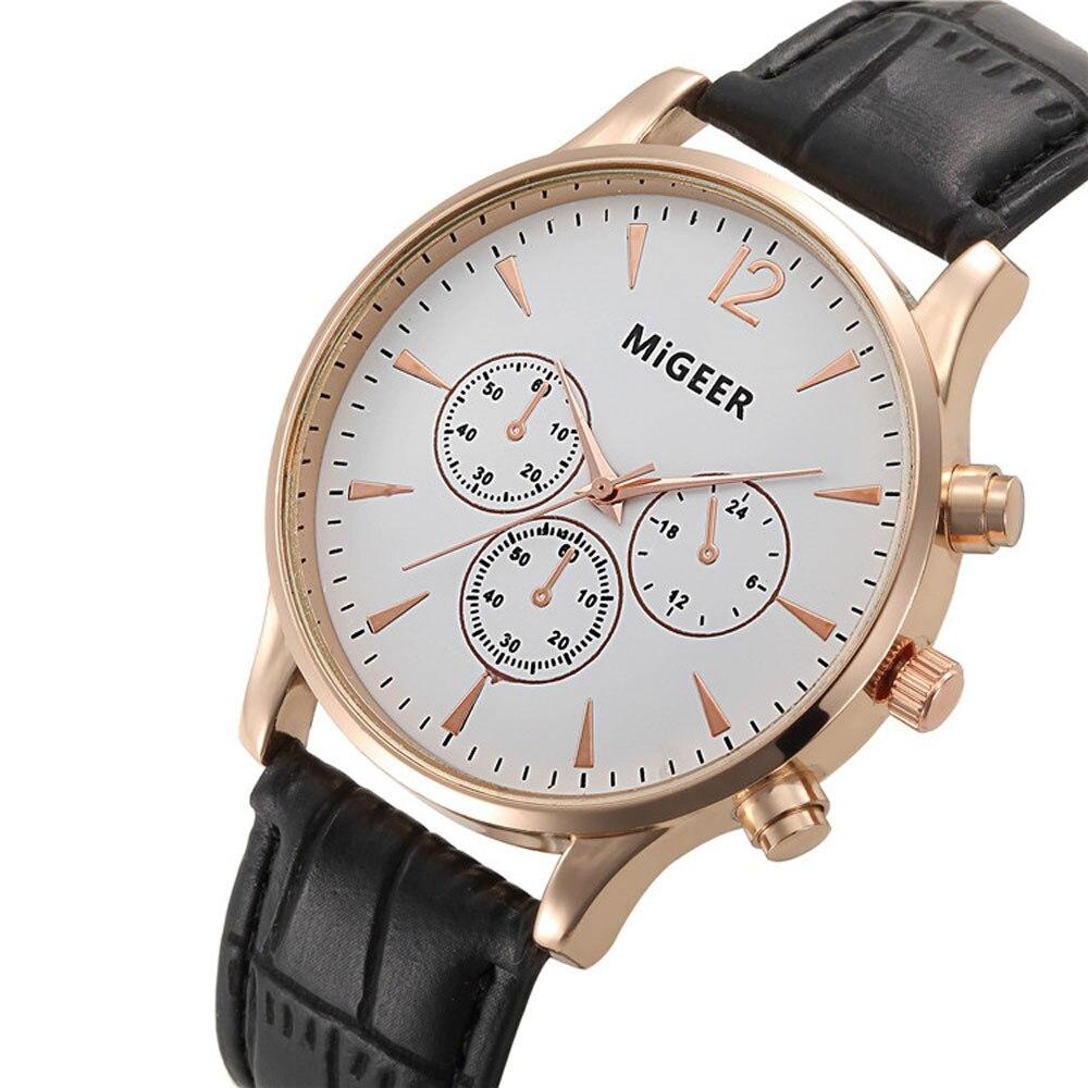 2018 luxe mode herenhorloge krokodil kunstleer heren quartz horloge - Herenhorloges - Foto 1