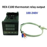 REX-C100 טמפרטורה דיגיטלית בקר טרמוסטט ממסר פלט + K סוג צמד תרמי חיישן 48x48 1300C