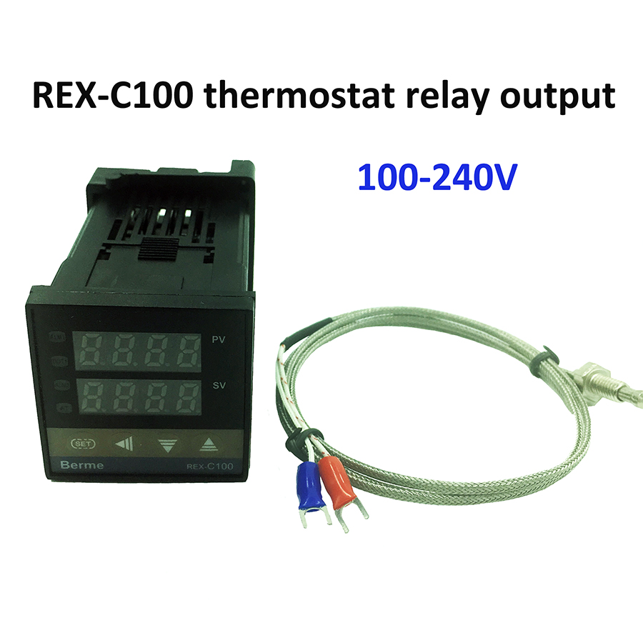 REX-C100 digital temperature controller thermostat relay output + K type thermocouple sensor 48 x 48 1300C digital thermostat 220v temperature controller thermocouple sensor termostato digitale thermometre estacion metereologicamh1210a