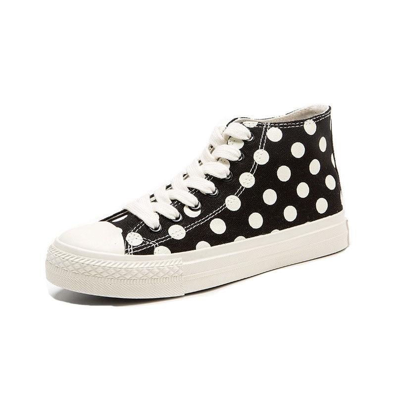 2019 New Polka Dot Women Canvas Shoes High Top Women Vulcanize Shoes Lace Up Fashion Women Sneakers Basket Femme