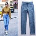 2017 весной новые женщины высокого ковбой шаровары старинные лодыжки длина брюки свободные мода ripped boyfriend джинсовые брюки ретро BF