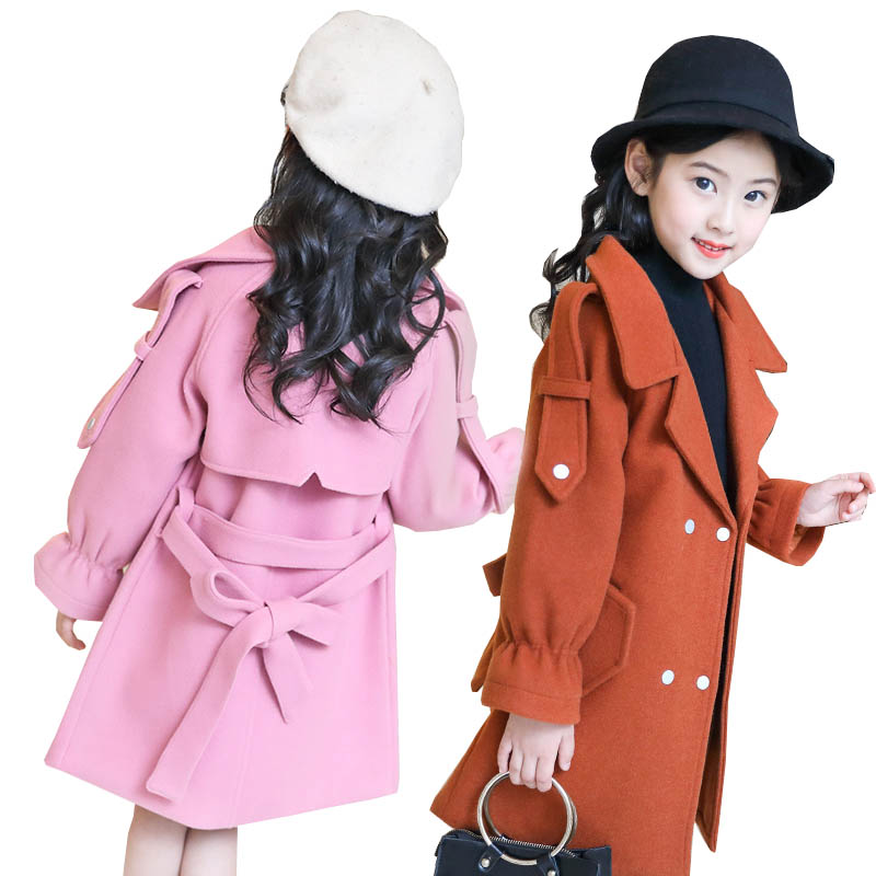 Baby Girls Wool Coat for Girl Jacket Thick Kids Jacket for Girls Winter Coat Woolen Outerwear Children Clothing 8 10 12 years one button design longline woolen coat page 8