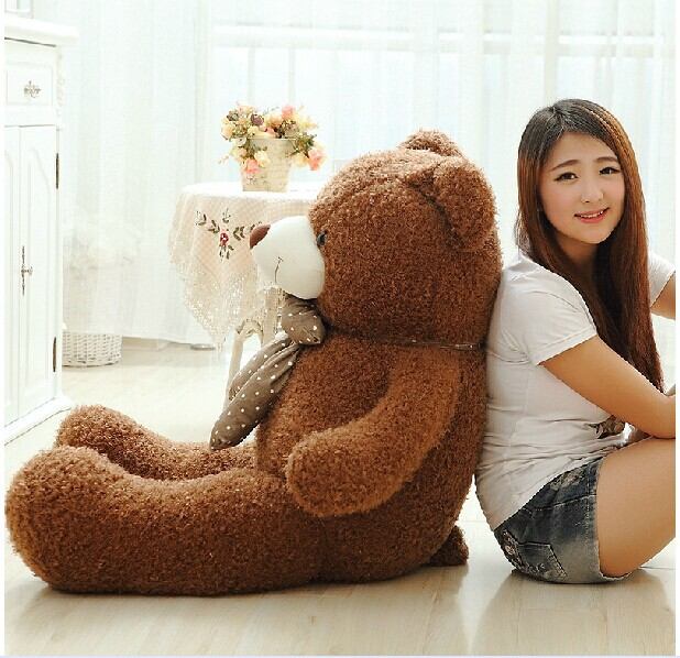 huge lovely dark brown teddy bear doll candy colours teddy bear with spots bow plush toy doll birthday gift about 160cm new cute plush brown teddy bear toy pink heart and bow bear doll gift about 70cm