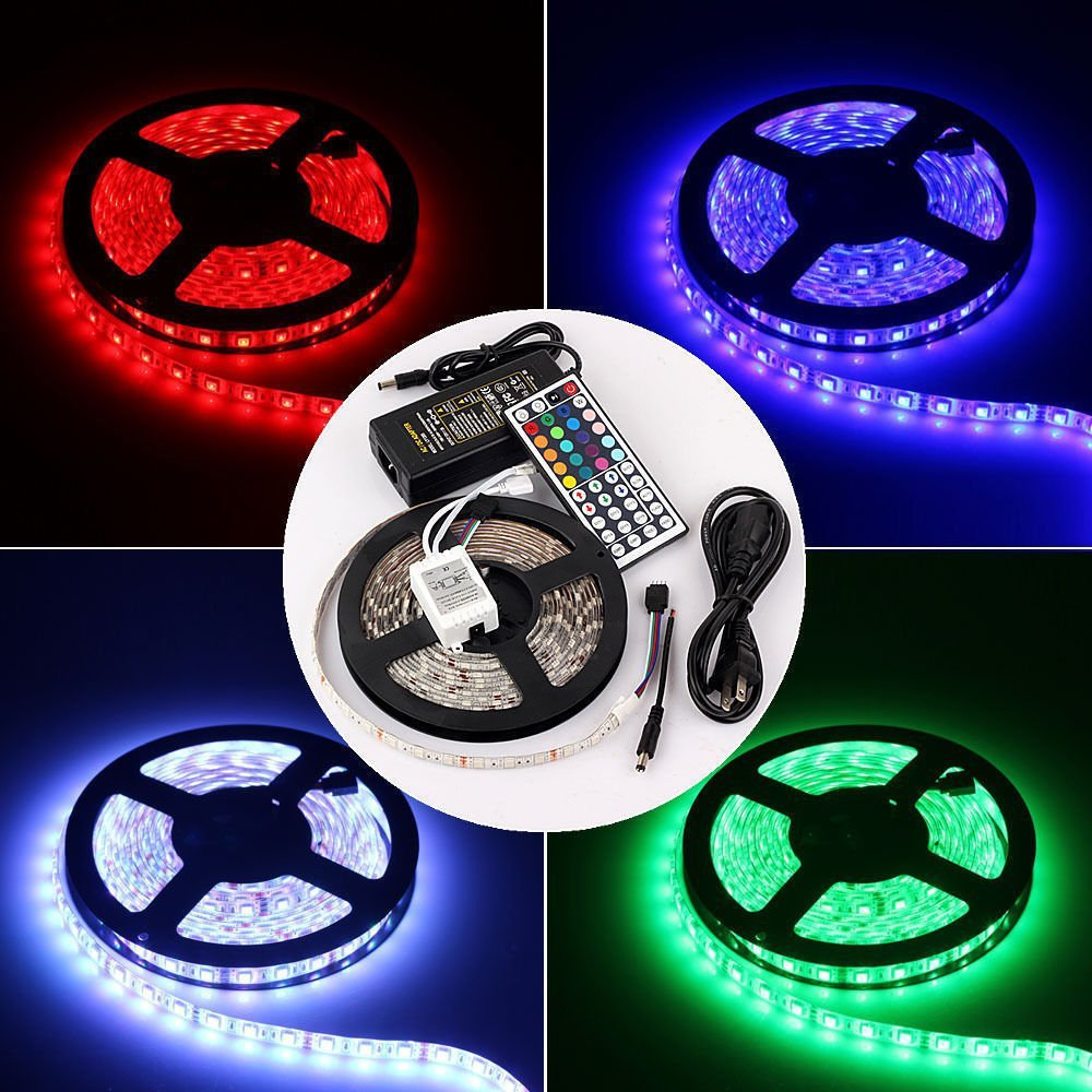 rgb led light strip kit waterproof 5050 5 m 300 led flexible led light strip lamp 44 key. Black Bedroom Furniture Sets. Home Design Ideas