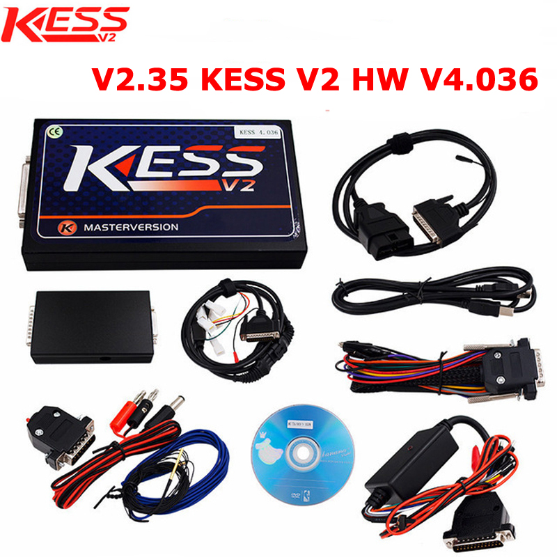 2Pcs/Lot V2.35 KESS V2 OBD2 Manager Tuning Kit Hardware V4.036 No Tokens Limited Master Version by DHL Free Shipping 2017 newest ktag v2 13 firmware v6 070 ecu multi languages programming tool ktag master version no tokens limited free shipping