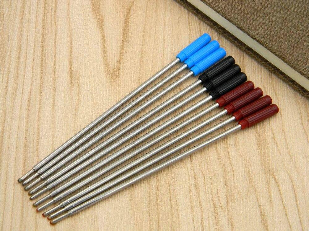 10pcs Black Red Blue New Metal 0.7MM Ballpoint Pen Refills