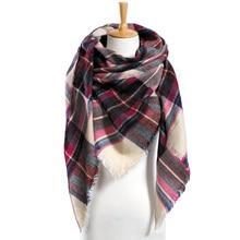 Зимний шарф Для женщин клетчатый шарф теплые дизайнерские Треугольники кашемировые платки Для женщин шарфы дропшиппинг VS051