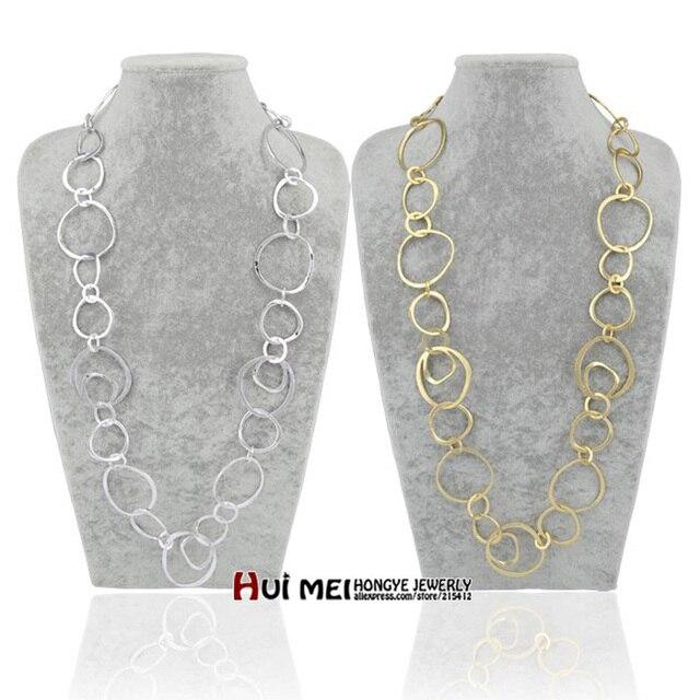 Shiny Gold/Silber Lange Hoop Kette Halsketten collier femme Fashion Schmuck bijoux Aussage halskette für frauen