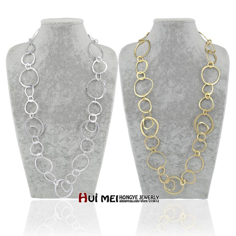 Shiny Gold / Silver Long Hoop Chain Necklaces collier femme Fashion Jewelry bijoux Statement necklace for women