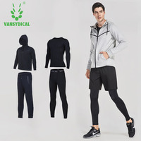 VANSYDICAL Mens Sports Suits Gym Sportswear Winter Running Suits 4pcs Men Compression Fitness Tracksuits Training Jogging