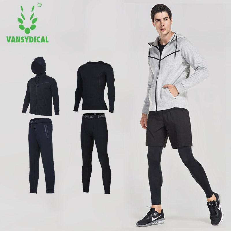 VANSYDICAL Mens Sports Suits Gym Sportswear Winter Running Suits 4pcs Men Compression Fitness Tracksuits Training Jogging Suits