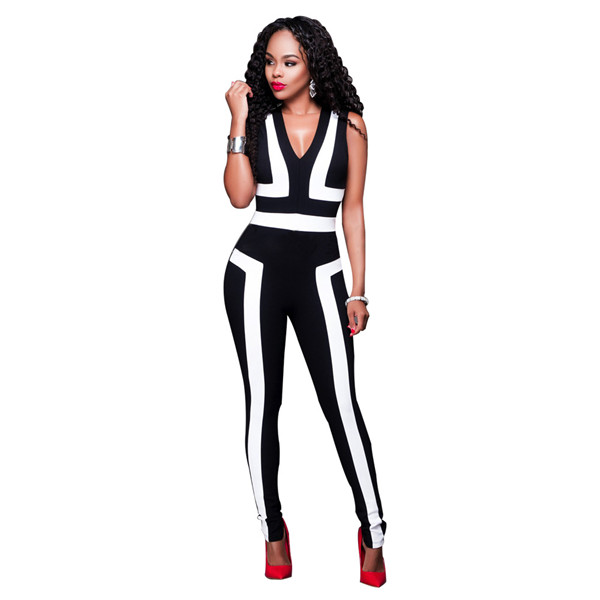 Women's Bodycon Jumpsuits 2016 Fashion Simple Black&White Patchwork Women Sleeveless Rompers One-piece Pants