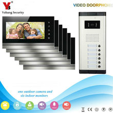 YobangSecurity 6 Apartment Wired Video Door Phone Intercom System 7″Inch Monitor IR Camera Video Intercom DoorPhone Doorbell Kit