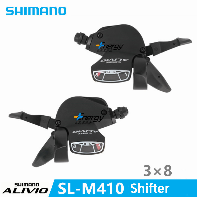 SHIMANO ALIVIO Bicycle Parts SL-M410 MTB Shifter TRANSMISSION Thumb Shift Shifter Control Handle Gearbox Switch 3 * 8 Speed shimano x t r sl m9000 thumb shifter left & right mtb mountain bike derailleurs 11s 22s 33s speed bicycle transmission