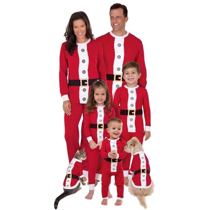 Family Matching Pajamas Adult Kids Women Long Sleeve Christmas Santa Claus Nightwear Pyjamas