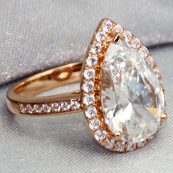 Vintage Center 3ct Pear Cut Simulated Diamond Engagement Ring Real 14k Rose Gold Wedding Band Womens