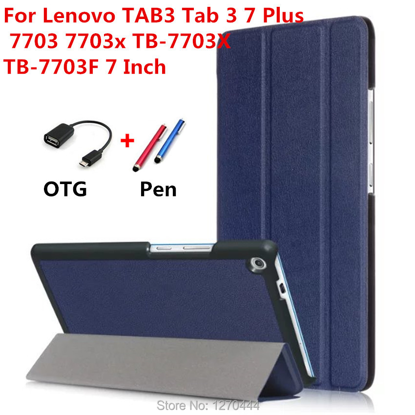 Ultra Slim Stylish tab3 7PLUS Leather Case Cover capa para For Lenovo TAB3 Tab 3 7 Plus 7703 7703x TB-7703X  7.0'' tablets case  pu leather cover for lenovo tab3 tab 3 7 plus 7703 7703x colorful print stand case tb 7703x tb 7703f 7 inch tablet cases gift