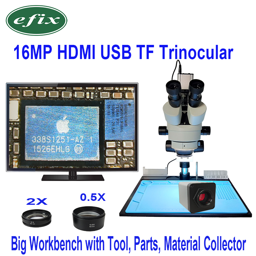 efix 3.5X-90X Simul-Focal Double Boom Stand Trinocular Stereo Zoom Microscope 16MP HDMI Camera LED Light Microscopio