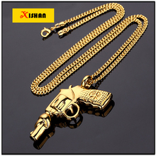 XS924 Mens Jewelry Gold Tone DJ Revolver Pendant Hip Hop Cuban Link Chain Bling Necklace