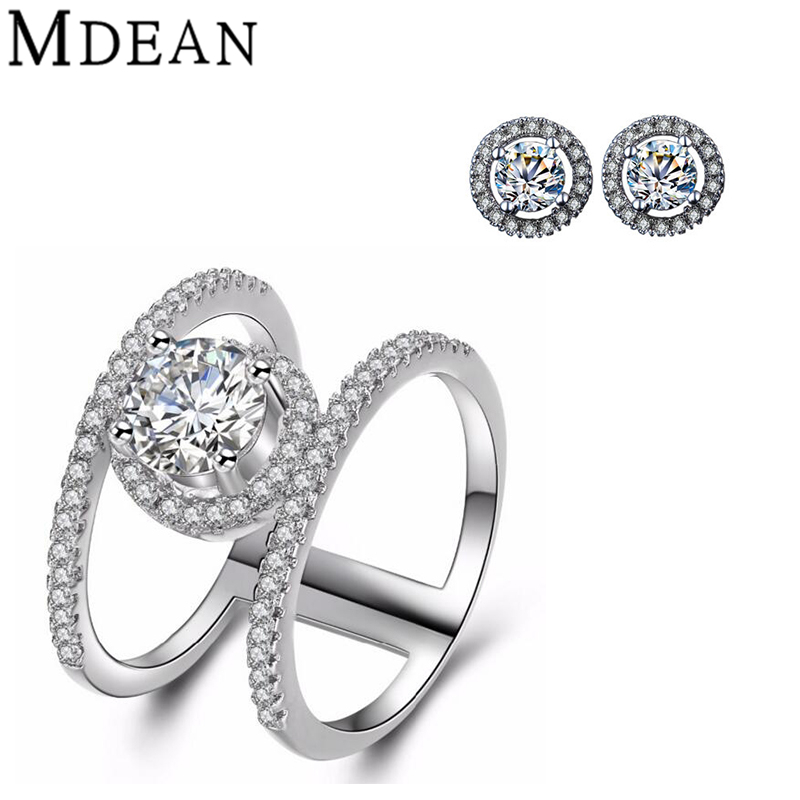 MDEAN white gold plated ring earrings font b Jewelry b font Sets for women font b