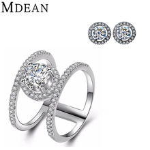 MDEAN white gold plated ring+earrings Jewelry Sets for women wedding Engagement Fashion Accessories CZ diamond jewelry set ring