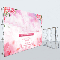 Custom Made Outdoor Photo Inkjet Background Printing Advertising Cloth Poster for Aluminum Flower Wall Folding Stand Frame
