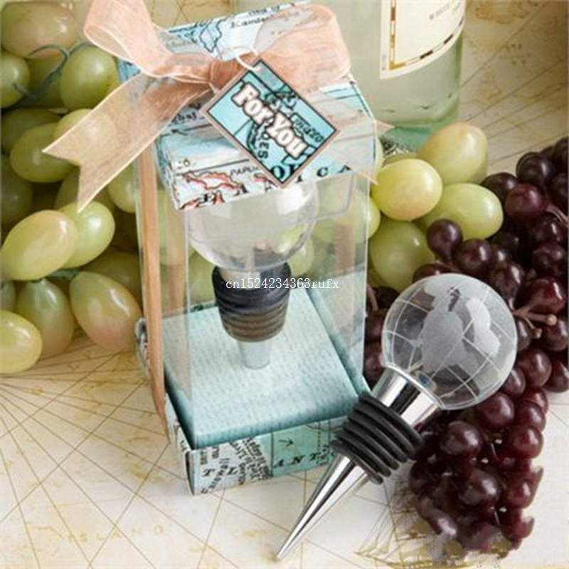 20pcs Crystal Globe Bottle Stopper World Travel Theme Wine Stoppers Wedding Party Favor Return Gifts Hot