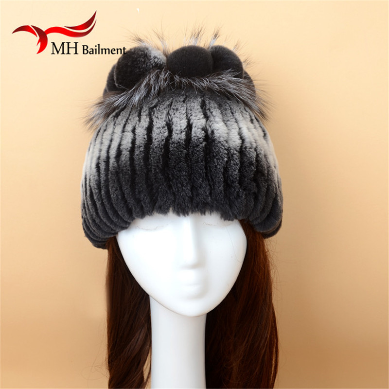 ФОТО Rex Rabbit Knitted Fur Hat Autumn Winter Warm Fashion Women Knitted Fur Hat With Fox Fur PomPom Quality Casual Beanies Hat  H#30