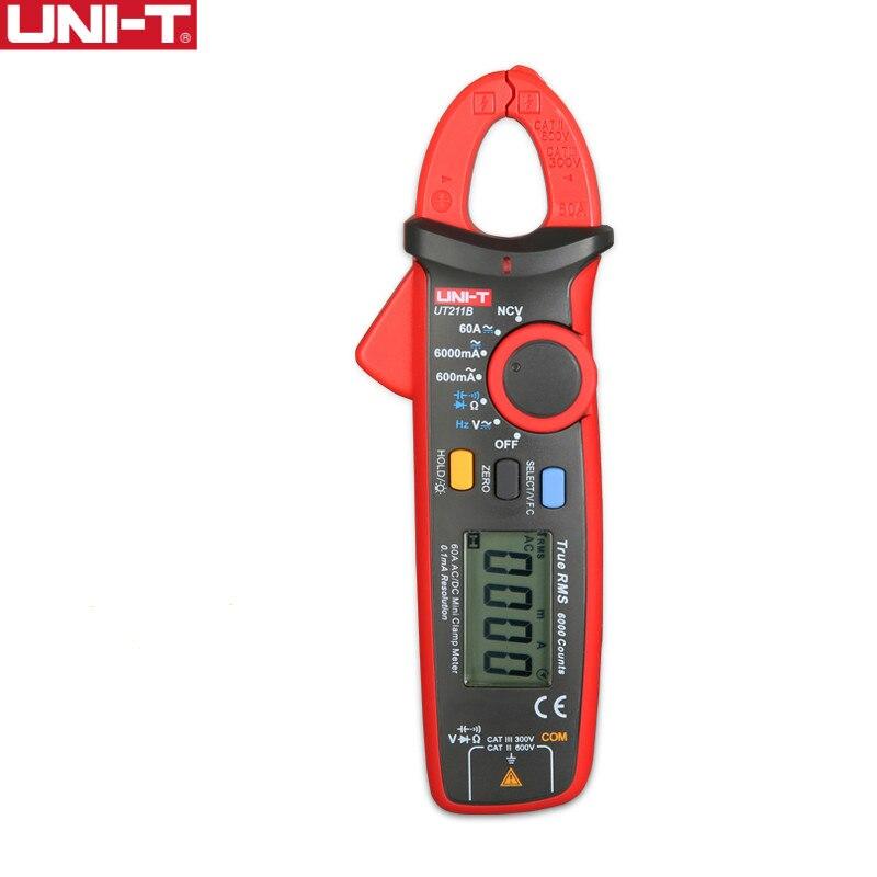 UNI T 60A True RMS Mini pinza medidor UT211A UT211B NCV/LCD amperímetro con retroiluminación VFC medición de frecuencia