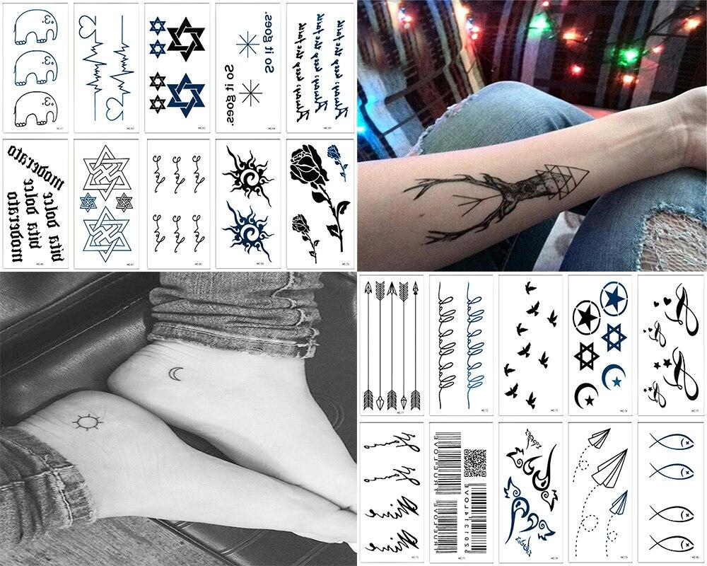 Us 746 17 Offy Xlwn 20 Sztuk Wodoodporny Czarny Nieskończoność Tatuaż Pióro Ptak Kobiety Ciało Ręcznie Sztuki Rysunek Tymczasowy Naklejki Z