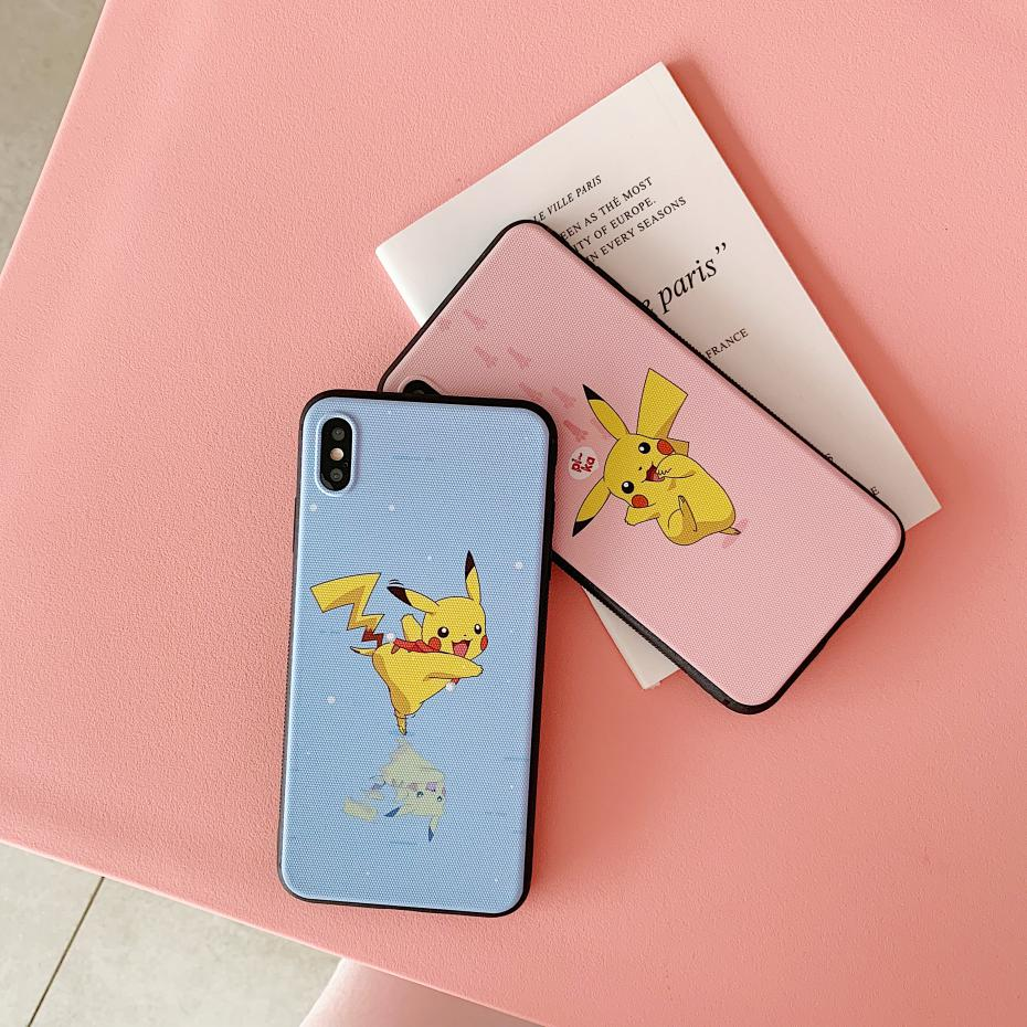 Pikachu soft case for iphone X XS MAX XR 8 7 6 6S plus phone cover 3D Super relief silicone Anime Cute Candy coque funda Couple in Half wrapped Cases from Cellphones Telecommunications