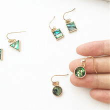 Green shell earrings contracted small pure and fresh and earrings Geometric triangle eardrop lady Exquisite jewelry wholesale цены онлайн
