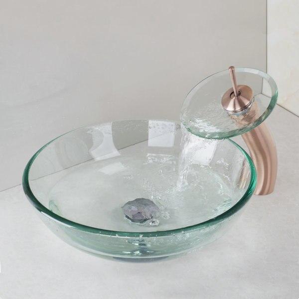 victoire bol en verre lavabo avec cuivre antique robinet cascade salle de bains en verre - Lavabo Salle De Bain En Verre