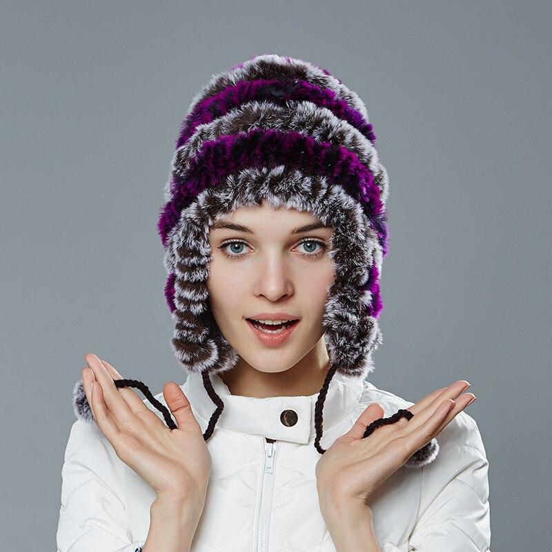 2016 New Women's Knitted Real Rex Rabbit Fur Hat Beanie Skullies Cap Ear Muff ear warmer Fur Pompom MZ03