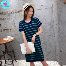 2019 summer Korean style new round neck striped long knit short sleeve female dress Knee-Length  Straight  Office Lady striped long sleeve knee length tight dress
