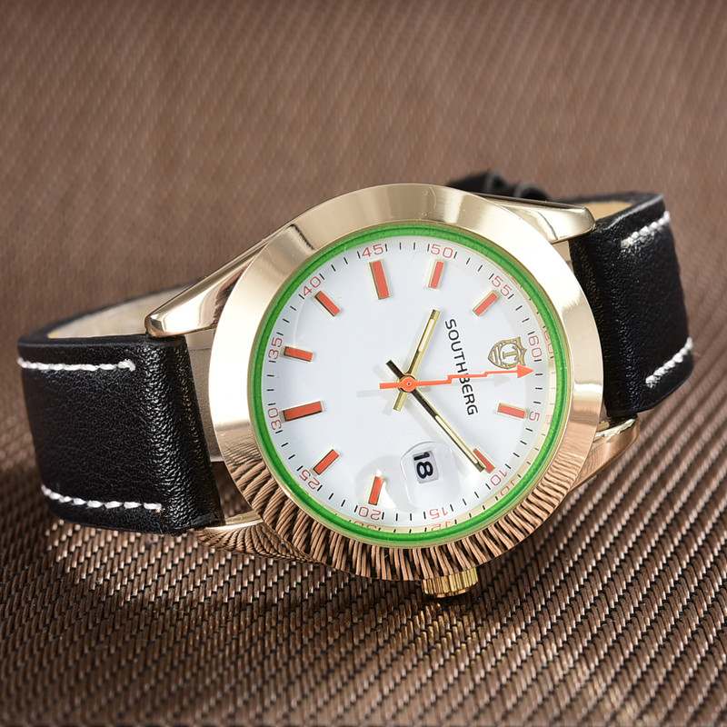 2018 SOUTHBERG Men Watch Sport  Fashion Wristwatch Montre Homme Genuine Leather Relojes Hombre  Quartz Male Business Watch