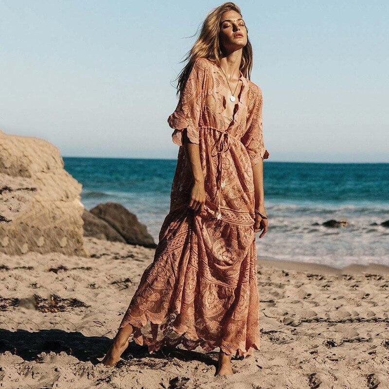 Beach Sunscreen Elastic Waist Pink Lace Dress Women 2019 Vintage  Boho Style Long