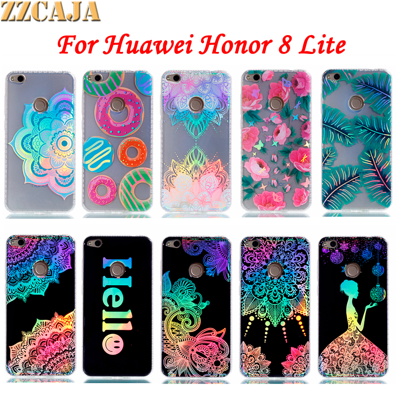 ZZCAJA For Huawei Honor 8 Lite Case Hard PC Board + Soft Shockproof Frame Bronzing Hello Smile for Huawei P8 Lite (2017) Covers ...
