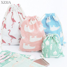 XZJJA Portable Flamingos Drawstring Storage Bags Travel Clot