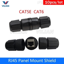 Metal Shielding  CAT5E CAT6 Outdoor RJ45 Panel Mount LAN Connector Ethernet Network Cable Extension Adapter waterproof 8P8C 10