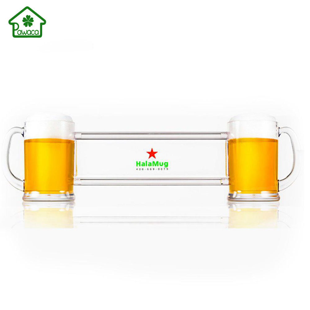 New Creative Conjoined Beer Cup 2-in-1 Transparent Siamese Wine Glass HalaMug Double Person Drinking Making Friends Beer GlassNew Creative Conjoined Beer Cup 2-in-1 Transparent Siamese Wine Glass HalaMug Double Person Drinking Making Friends Beer Glass