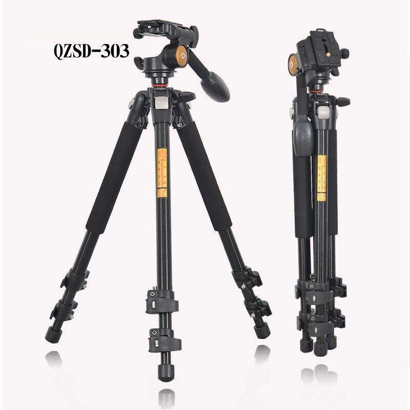 QZSD Q303 מקצועי מצלמה חצובה שחרור מהיר צלחת אחת ידית הידראולי מנחת ראש חליפת מעיים Tripodes אבזרים