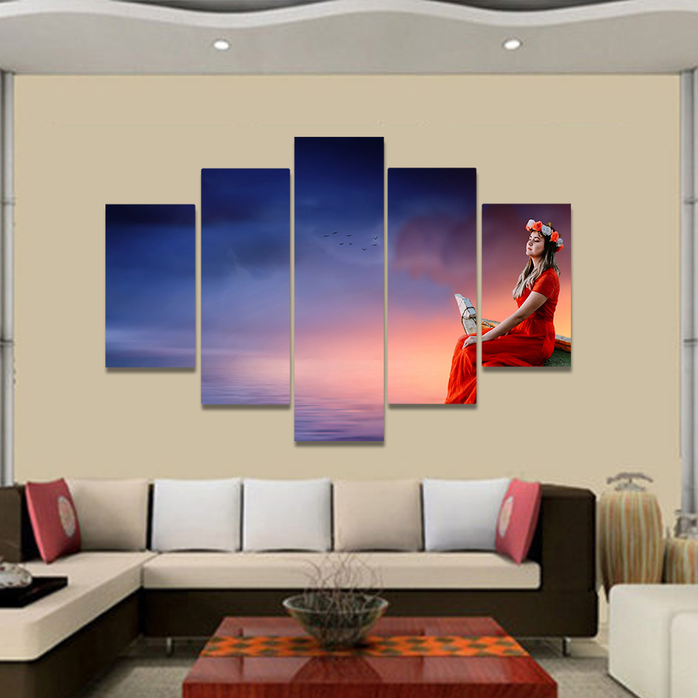 Unframed Canvas Painting Clouds Over The Lake Wreath Red Woman Picture Prints Wall Picture For Living Room Wall Art Decoration
