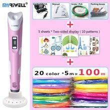 Myriwell 3d kalem 3d kalemler, LED ekran, 20x5 m ABS/PLA Filament, ekleyin özel parantez korumak için hands3 d pen 3d sihirli kalem 3d modeli